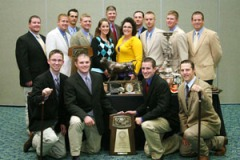 Associate judge, Drew Perez with the Texas Tech national champion judging team coached by Rathmann
