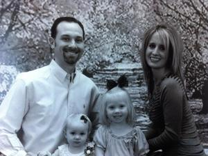 Ryan and his wife, Kayla, with their two girls Kinlee and Karlee