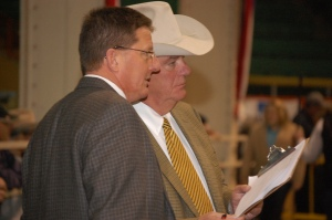 Tom Hook with lead judge, John Edwards at the 2012 National Western Stock Show