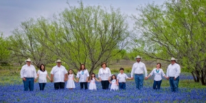The Guerra family in the Texas Bluebonnets at the ranch