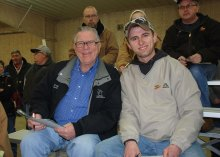 Dr. Robert Walton (left) and Andrew Manthe, DeForest, WI (right) at the Wisconsin Simmental Association Spring Spectacular Sale.